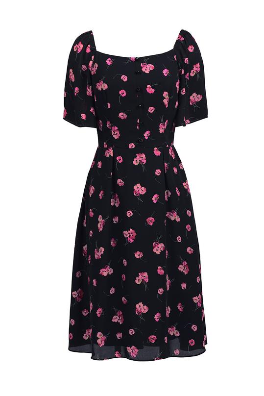 Đầm xòe hoa cổ vuông tay cánh tiên KK82-23