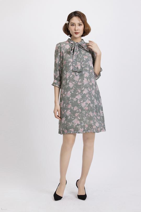 Đầm suông họa tiết phối nơ KK83-35