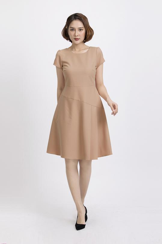 Đầm xòe tay ngắn cổ tròn KK87-06