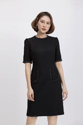 Đầm đen nhấn 2 túi cổ tròn tay lỡ KK87-15