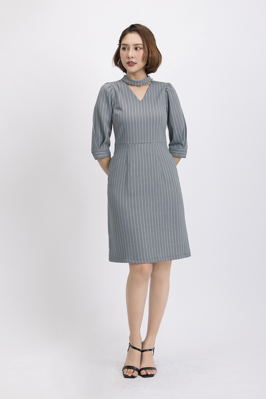 Đầm kẻ sọc form chữ A cut-out KK87-32