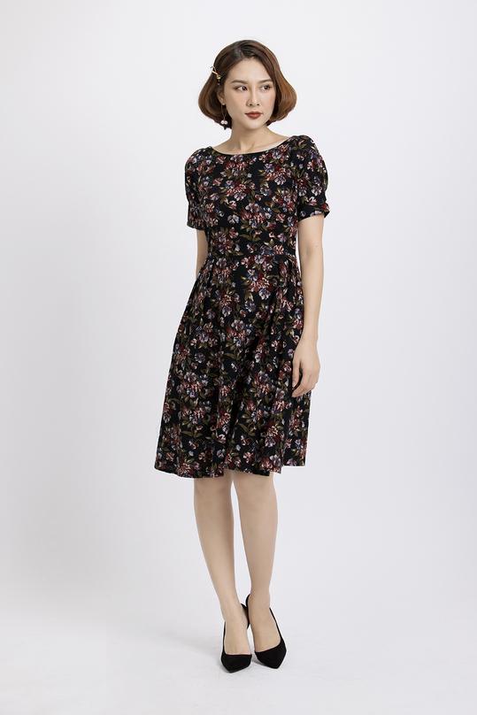 Đầm xòe họa tiết hoa nổi bật KK87-34
