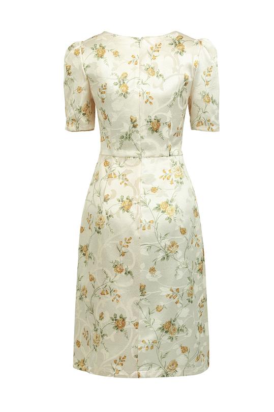 Đầm hoa cổ V tay ngắn KK88-05