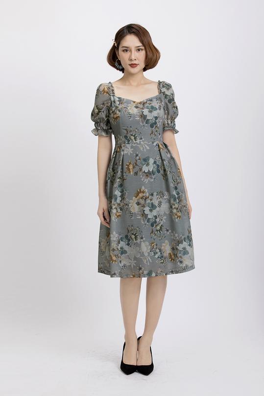 Đầm hoa xòe cổ vuông KK88-06