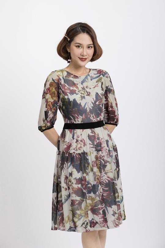 Đầm hoa dáng xòe tay lửng KK88-30