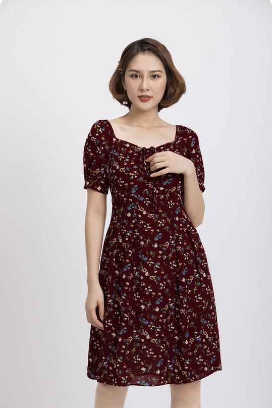 Đầm xòe họa tiết hoa nhí