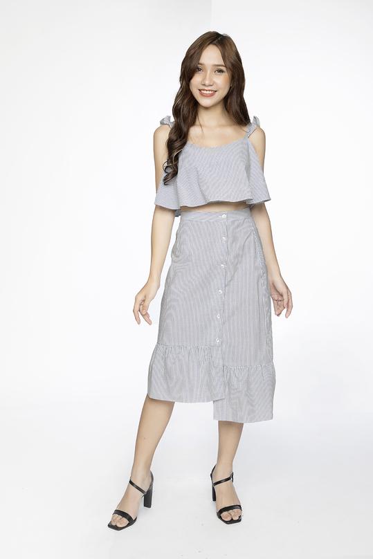 Set áo croptop hai dây và chân váy midi chữ A HL07-16