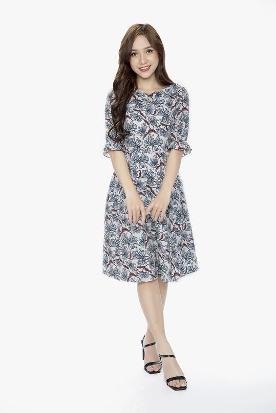 Đầm xòe tay lửng họa tiết hoa HL07-34