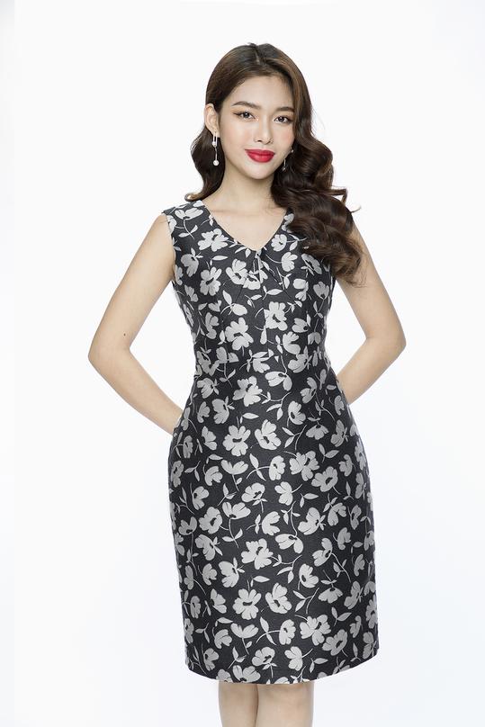 Đầm ôm họa tiết hoa HL08-01