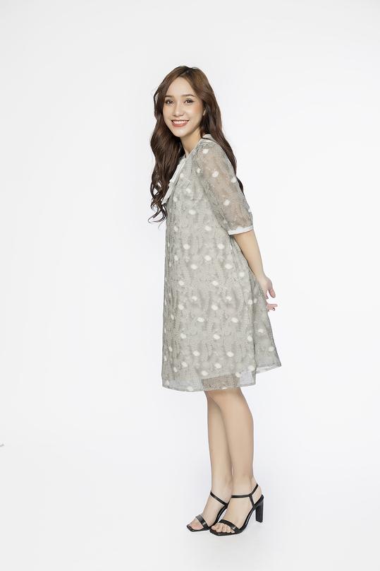 Đầm suông họa tiết tay lỡ phối nơ KK87-26