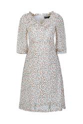 Đầm voan họa tiết viền bèo tay lửng KK88-38