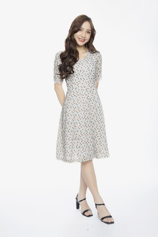 Đầm xòe hoa tay ngắn phối ren KK89-08