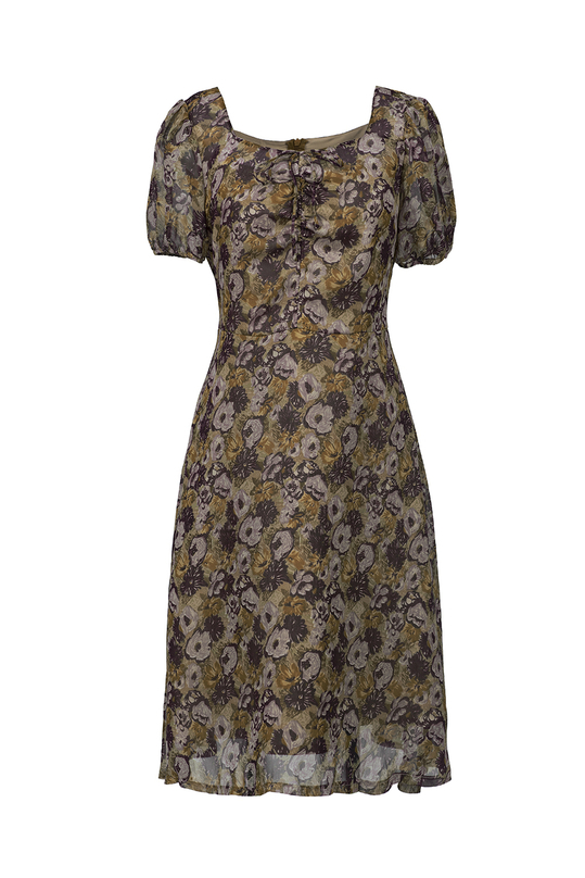Đầm voan họa tiết dáng xòe KK89-12