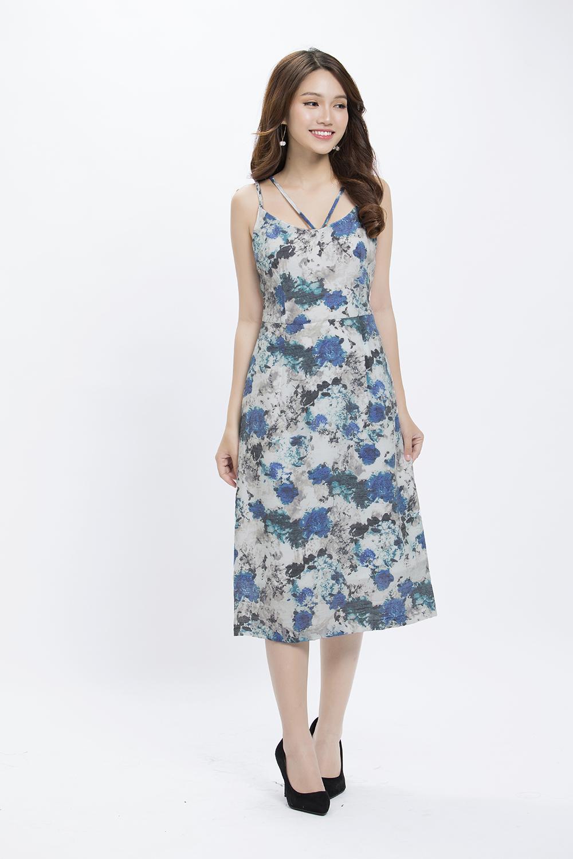 Đầm maxi hoa hai dây KK85-29