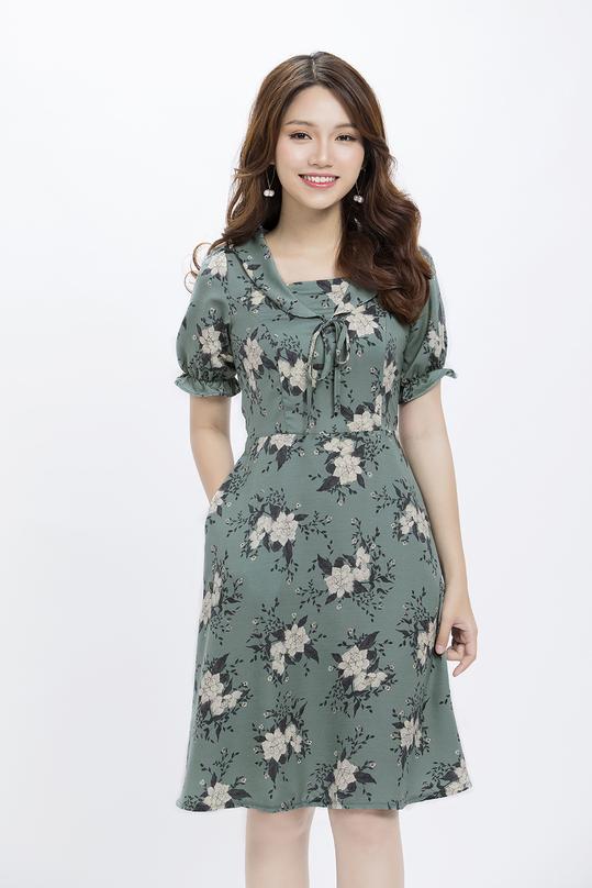 Đầm xòe hoa cổ sen tay bo thun KK86-25