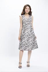 Đầm xòe họa tiết sát nách cổ V KK89-05
