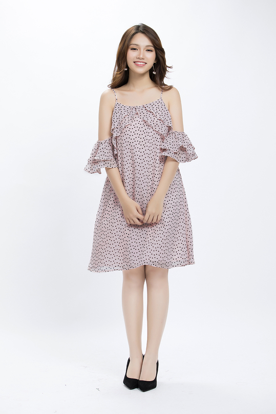 Đầm suông 2 dây rớt vai phối bèo KK89-17
