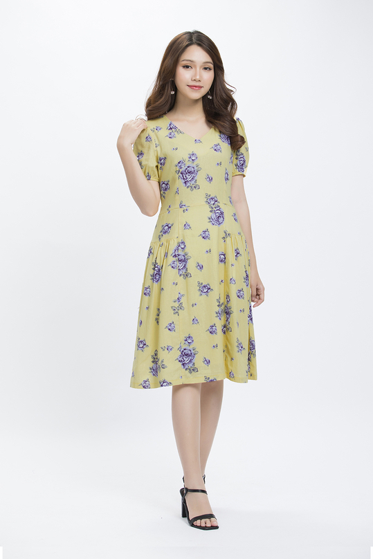Đầm xòe xếp ly in hoa cổ V KK89-34