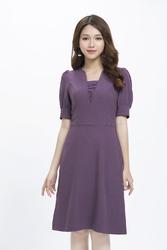 Đầm xòe cổ V cách điệu KK90-01