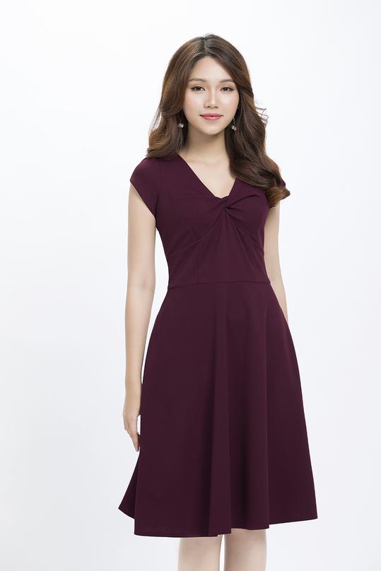 Đầm xòe cổ tim xoắn cách điệu KK90-13