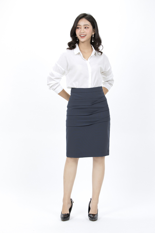Chân váy bút chì xanh xám cách điệu CV01-25