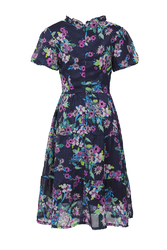 Đầm xòe tay ngắn họa tiết hoa HL08-15