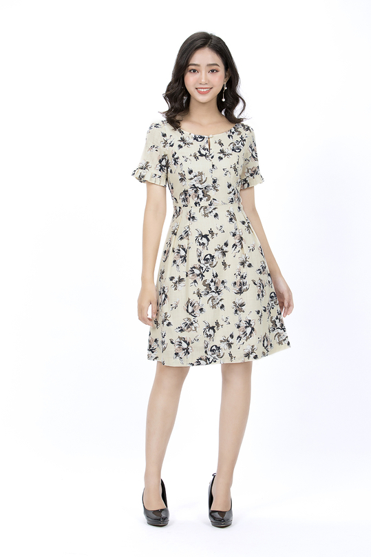 Đầm xòe hoa xếp ly tay bèo HL08-25