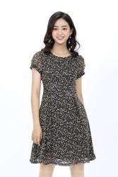 Đầm xòe da beo tay ngắn HL09-10