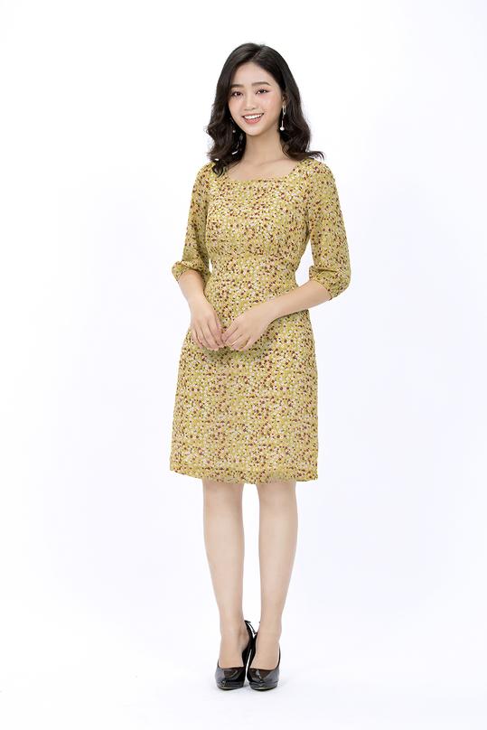 Đầm hoa chữ A tay lửng KK90-06
