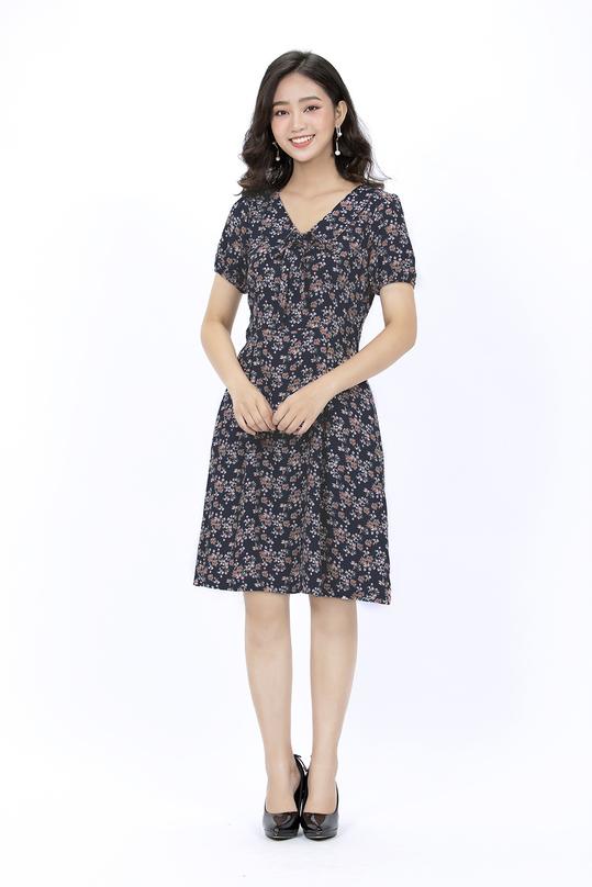 Đầm xòe hoa vintage KK90-12