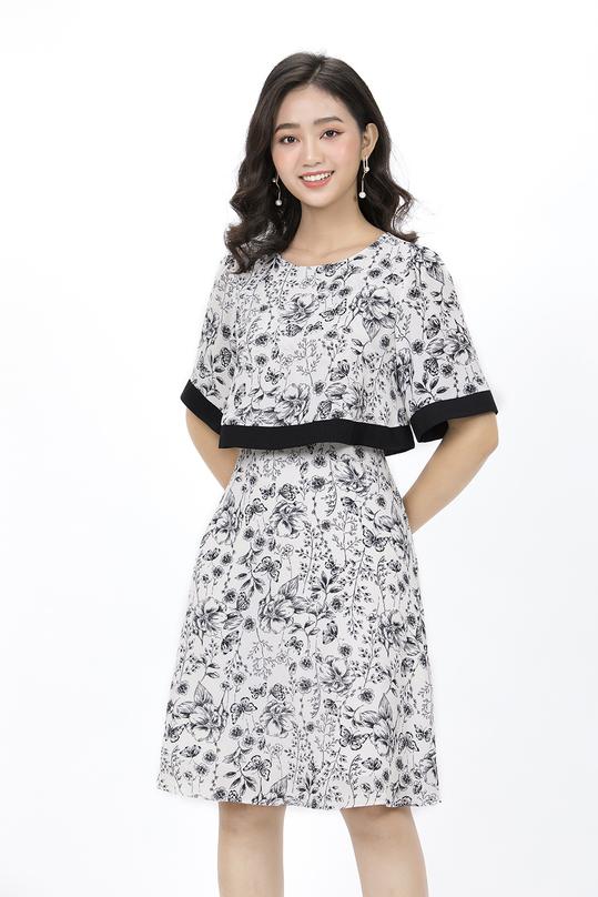 Đầm liền thân dáng xòe họa tiết hoa KK90-16