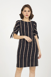 Đầm suông sọc dọc khoét vai KK90-09