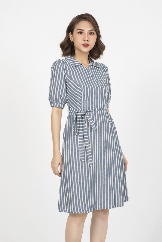 Đầm xòe kẻ sọc cổ sơ mi KK90-31