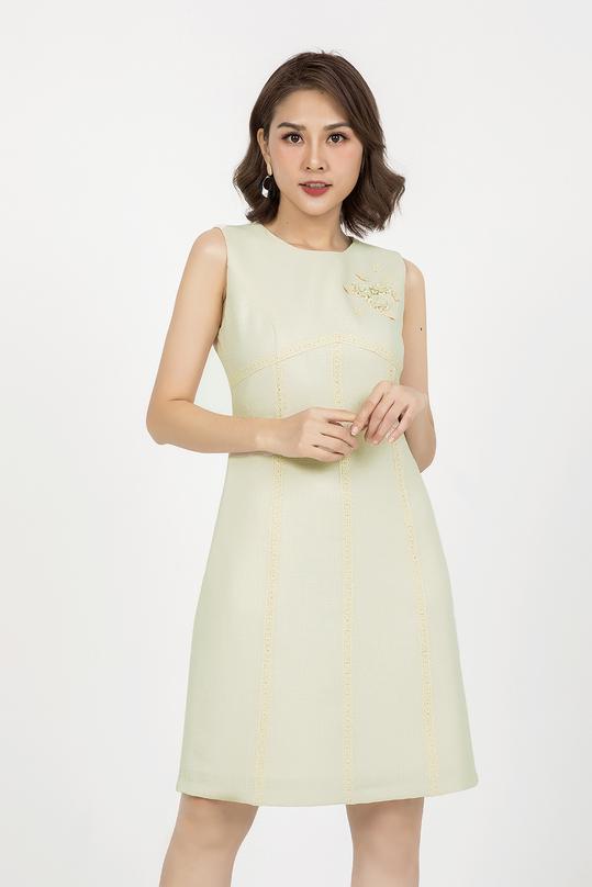 Đầm chữ A dự tiệc phối ren KK91-07