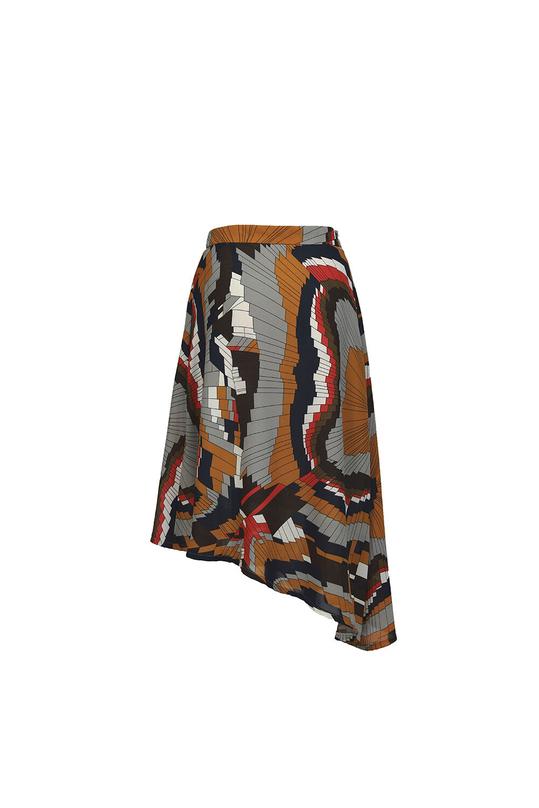Chân váy họa tiết dáng xòe vạt chéo