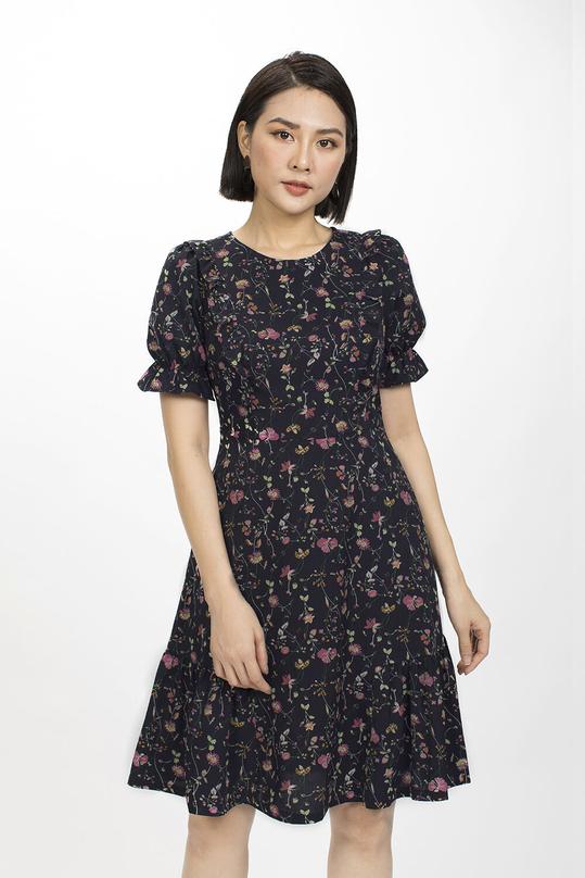 Đầm hoa dáng xòe cổ tròn tay ngắn