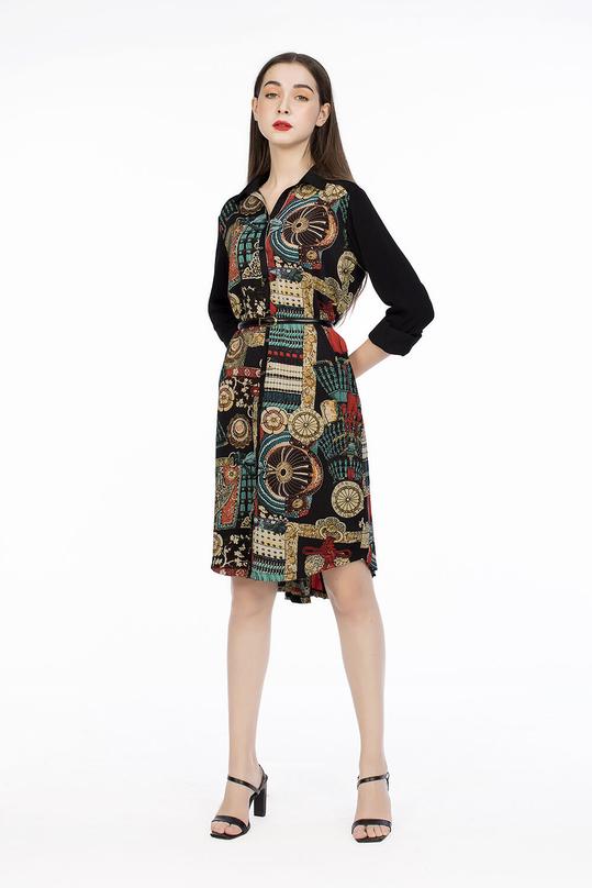Đầm sơ mi họa tiết tay dài
