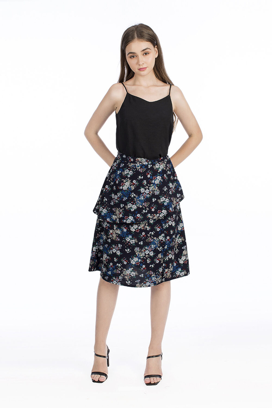 Chân váy chữ A phối bèo họa tiết hoa
