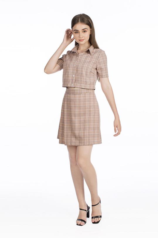 Set áo sơ mi và chân váy chữ A xếp ly HL10-14