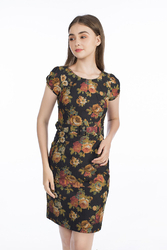Đầm hoa ôm body phối thắt lưng