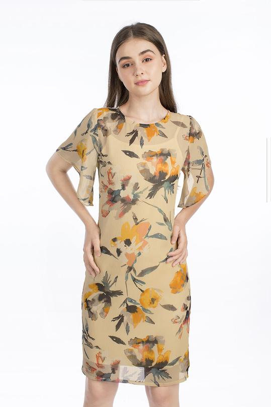 Đầm hoa dáng suông tay cánh tiên