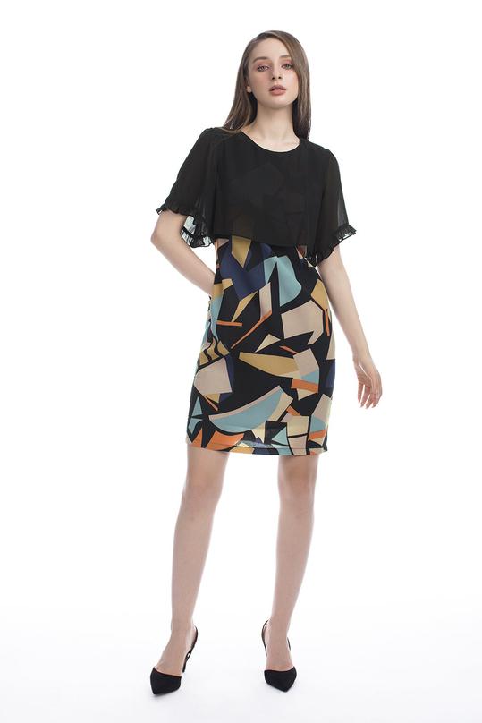 Đầm suông nhẹ phối màu giả áo