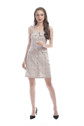 Váy hai dây họa tiết caro