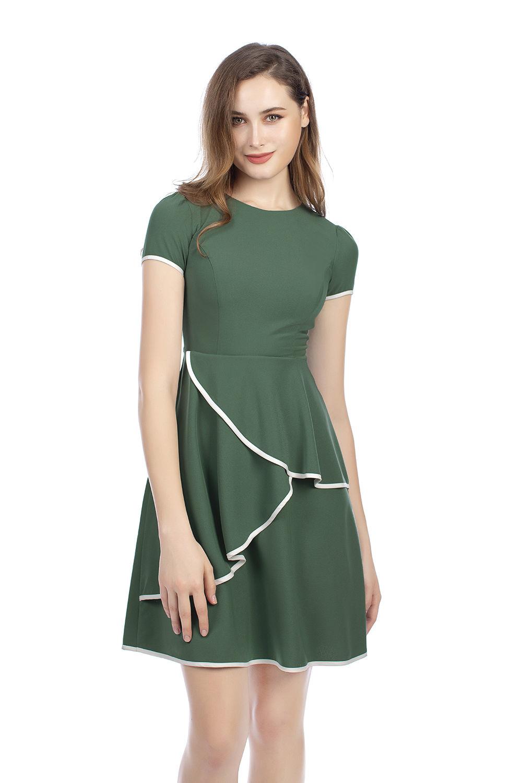 Đầm xòe cổ tròn tay ngắn