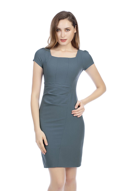 Đầm ôm body nhấn eo cổ vuông