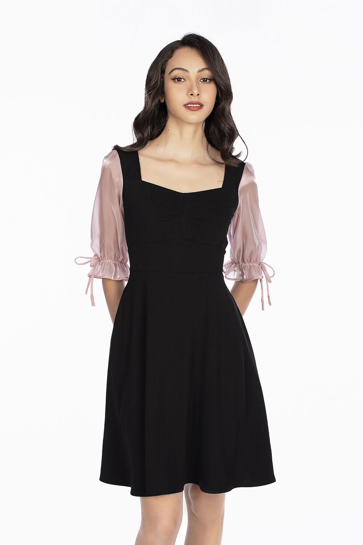 Đầm xòe cổ vuông phối voan