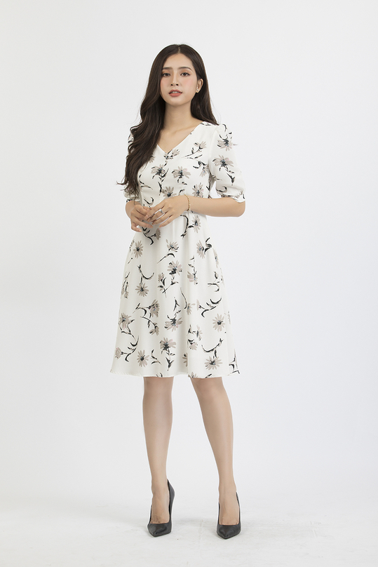 Đầm xòe hoa cổ V KK84-03