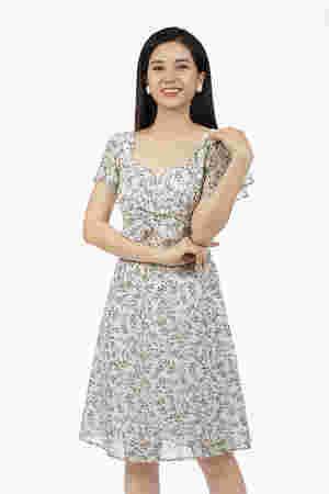 Đầm hoa nhí cổ vuông nhấn ngực