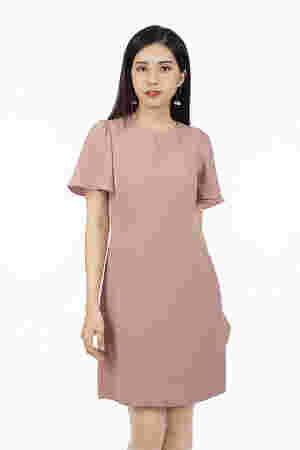 Đầm suông đơn sắc tay loe