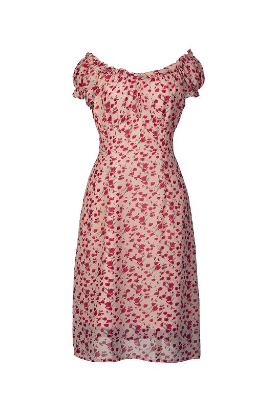 Đầm hoa dáng chữ A cổ tròn tay ngắn